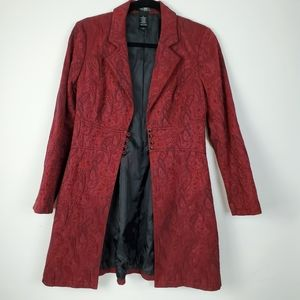Bisou Bisou Holiday Red and Black Paisley Coat 8P
